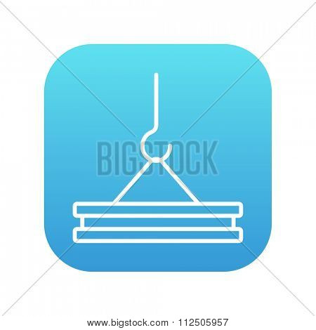 Crane hook holding concrete slab line icon for web, mobile and infographics. Vector white icon on the blue gradient square with rounded corners isolated on white background.