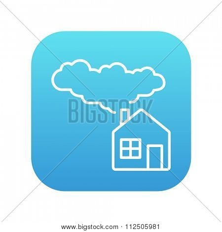 House with a chimney and smoke line icon for web, mobile and infographics. Vector white icon on the blue gradient square with rounded corners isolated on white background.