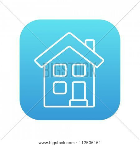 Two storey detached house line icon for web, mobile and infographics. Vector white icon on the blue gradient square with rounded corners isolated on white background.