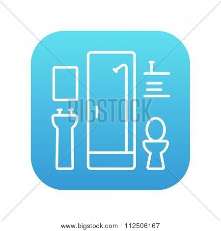 Bathroom line icon for web, mobile and infographics. Vector white icon on the blue gradient square with rounded corners isolated on white background.