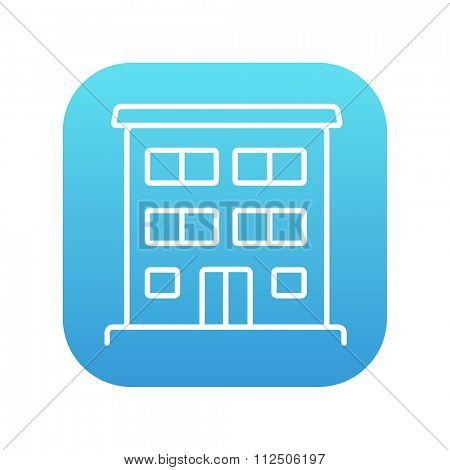 Residential buildings line icon for web, mobile and infographics. Vector white icon on the blue gradient square with rounded corners isolated on white background.