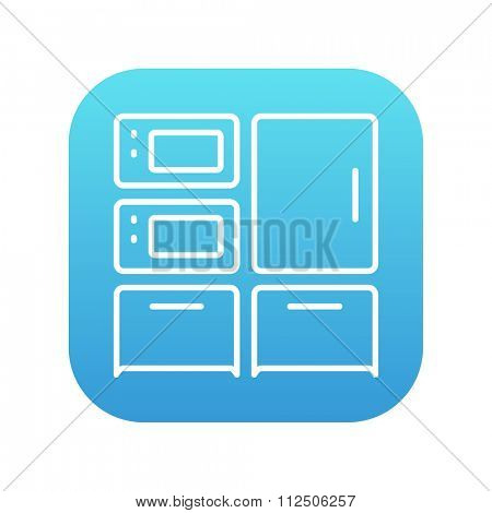 Household appliances line icon for web, mobile and infographics. Vector white icon on the blue gradient square with rounded corners isolated on white background.