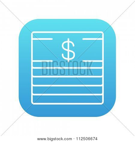 Stack of dollar bills line icon for web, mobile and infographics. Vector white icon on the blue gradient square with rounded corners isolated on white background.