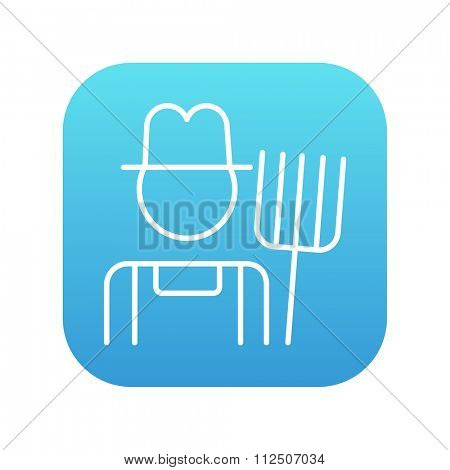 Farmer with pitchfork line icon for web, mobile and infographics. Vector white icon on the blue gradient square with rounded corners isolated on white background.