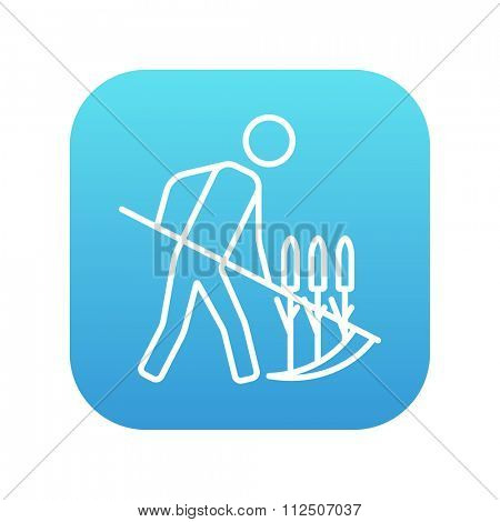 Man mowing grass with a scythe line icon for web, mobile and infographics. Vector white icon on the blue gradient square with rounded corners isolated on white background.
