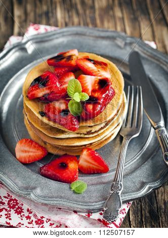 Stack Of Pancakes With Fresh Strawberry And Balsamic Glase