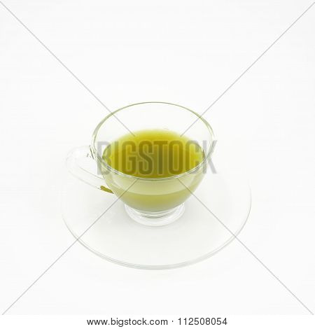The cup of Japanese tasty matcha green tea