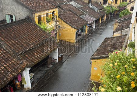 View from above of Tran Phu street in Hoi An ancient town