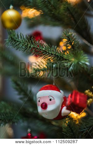 Santa Claus Doll On Christmas Tree