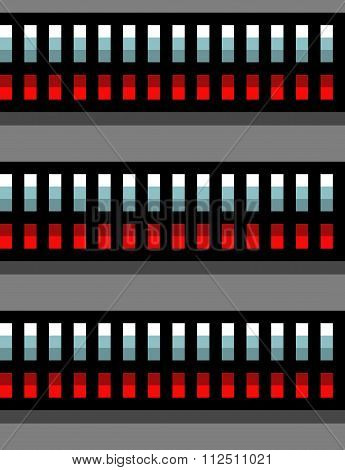 Seamless Steel Techno Tubes With A Red Light On Gray