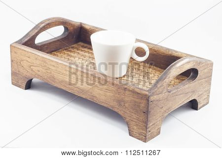 Coffee Cup On Wooden Tray Isolated On White Background