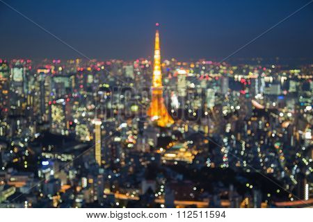 Abstract blurred bokeh light, Tokyo tower and city aerial view