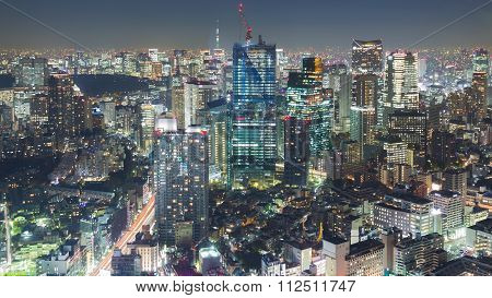 Night aerial view of Tokyo downtown at night