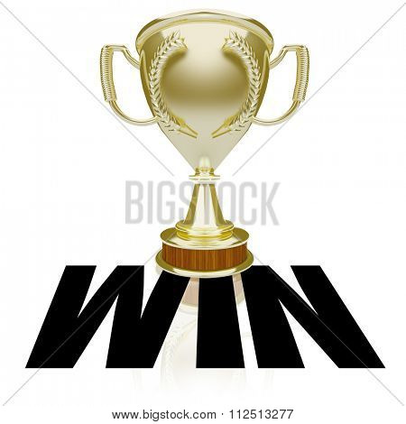 Win word over gold trophy or award for winner or victorious team in a competition or game