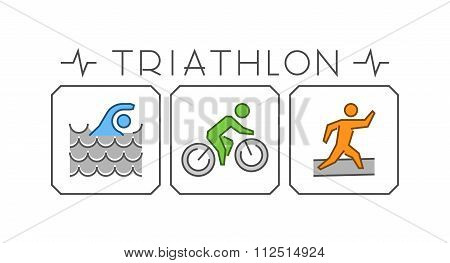 Line And Flat Triathlon Logo. Swimming, Cycling And Running Icon. Silhouettes Of Figures Triathlete.