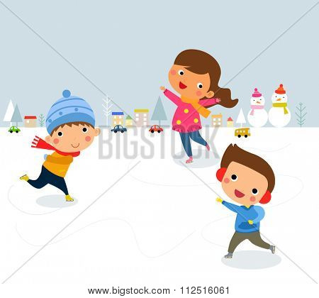 Ice skating boys and girl. vector illustration.