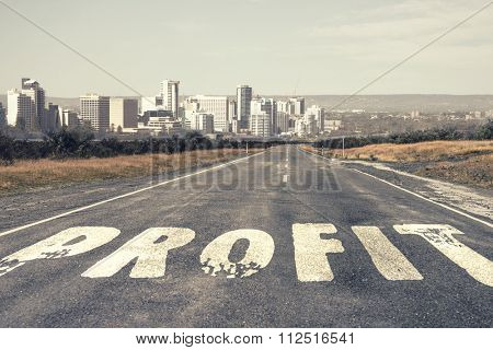 Conceptual image with word income on asphalt road