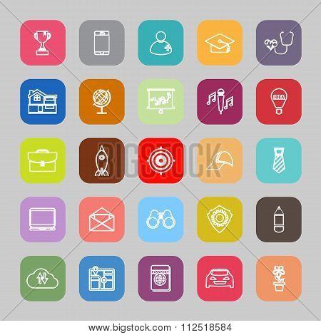 Job Description Line Flat Icons