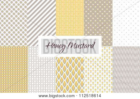 Mustard Yellow And Taupe Geometric Seamless Pattern Set.