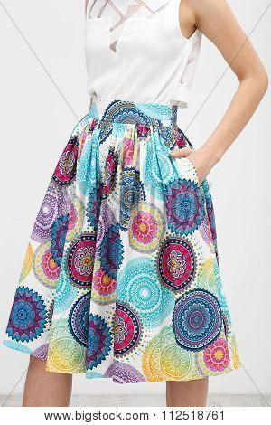 Young Woman In The Color Skirt