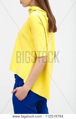 Young Woman In The Yellow Oversize Shirt