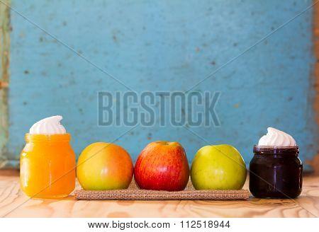 Apples, honey and blueberry jam