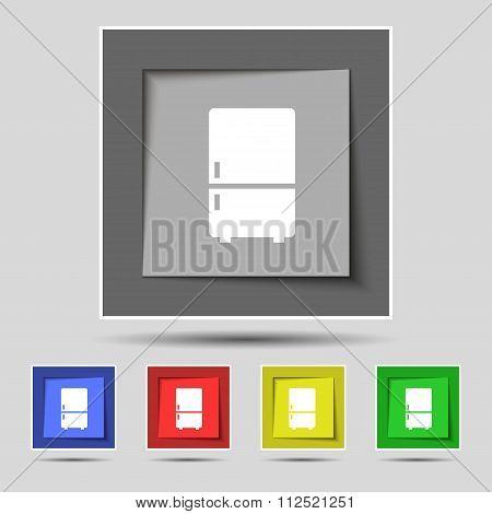 Refrigerator Icon Sign On Original Five Colored