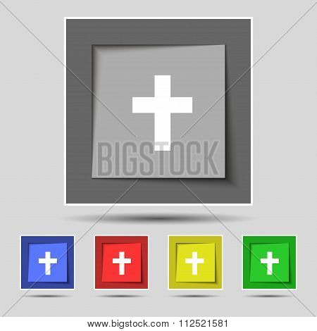 Religious Cross, Christian Icon Sign On Original Five Colored Buttons.