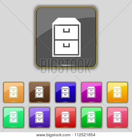 Nightstand Icon Sign. Set With Eleven Colored Buttons For Your Site.