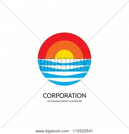 Abstract vector logo concept illustration. Sunset vector logo - concept sign. Sun down logo.
