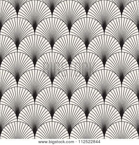 Vector Seamless Black And White Sunburst Shape Hand Drawn Lines In Circes Geometric Japanese Pattern