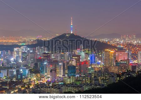 Seoul At Night, South Korea City Skyline.