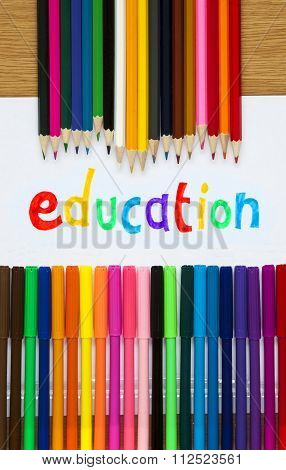 Education In Felt Tip With Pencil Crayons, Teaching / Educational Design.