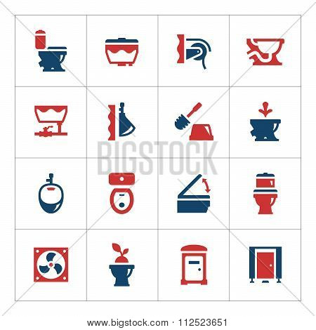 Set Color Icons Of Toilet