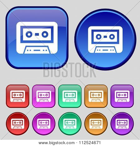 Audiocassette Icon Sign. A Set Of Twelve Vintage Buttons For Your Design.