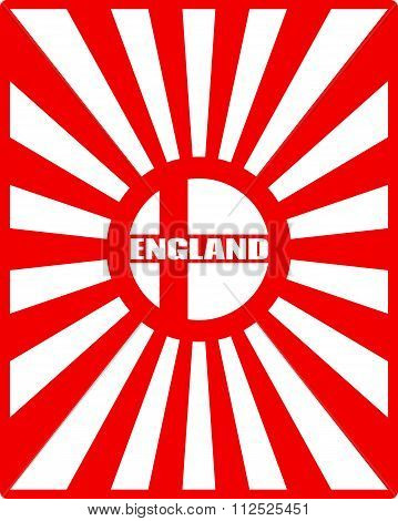 England Flag On Sun Rays Backdrop