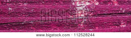 Wooden Background Texture With Flaking Bright Pink Paint - Panorama.
