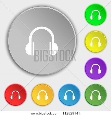 Headphones Icon Sign. Symbol On Eight Flat Buttons.