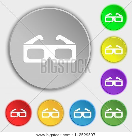 3D Glasses Icon Sign. Symbol On Eight Flat Buttons.