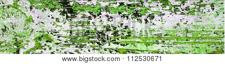 Flaking Green Paint On White Wood, Grunge Background Texture - Panorama.
