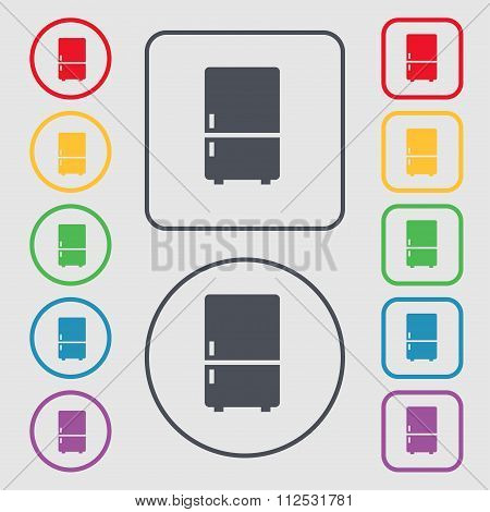 Refrigerator Icon Sign. Symbol On The Round And Square Buttons With Frame.