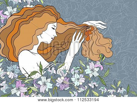 Vector illustration of dreaming beautiful girl with lilies. Stained-glass window style