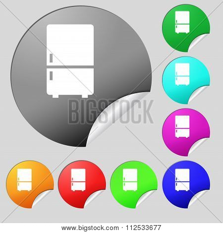 Refrigerator Icon Sign. Set Of Eight Multi Colored Round Buttons, Stickers.