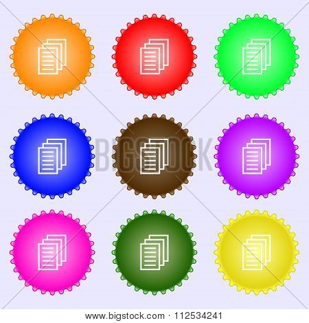 Copy File, Duplicate Document Icon Sign. A Set Of Nine Different Colored Labels.