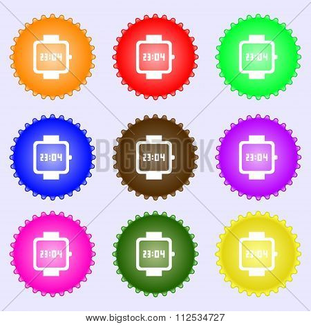Wristwatch Icon Sign. A Set Of Nine Different Colored Labels.