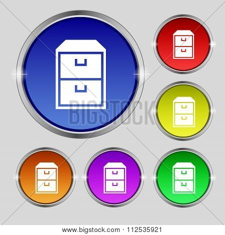Nightstand Icon Sign. Round Symbol On Bright Colourful Buttons.