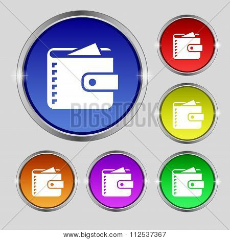 Purse  Icon Sign. Round Symbol On Bright Colourful Buttons.