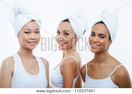 Beautiful young women are enjoying purity and freshness