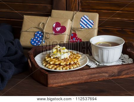 Lemon Tea, Waffles With Ice Cream, Honey And Nuts In A Vintage Tray,  Homemade Valentine's Day Gifts