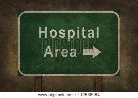 Hospital Area Ahead Roadside Sign Illustration